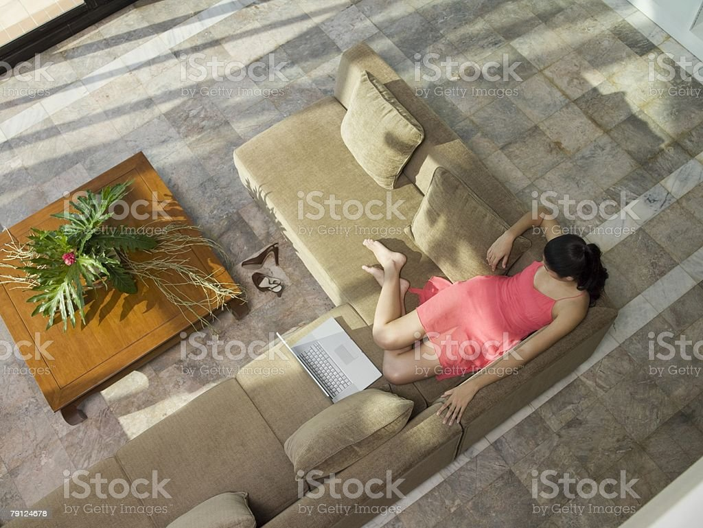 Woman on sofa royalty-free stock photo