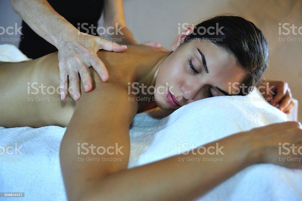 Woman on spa massage stock photo