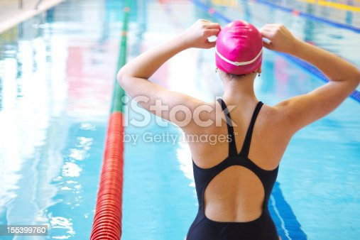 istock woman on start of swimming 155399760