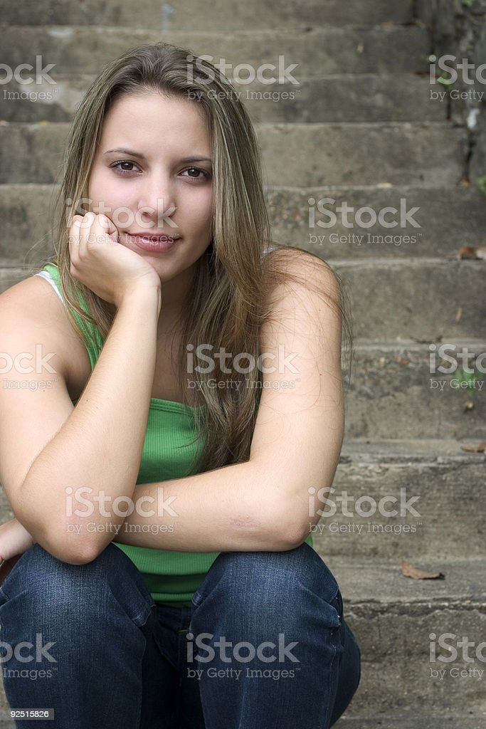 Woman on Steps royalty-free stock photo