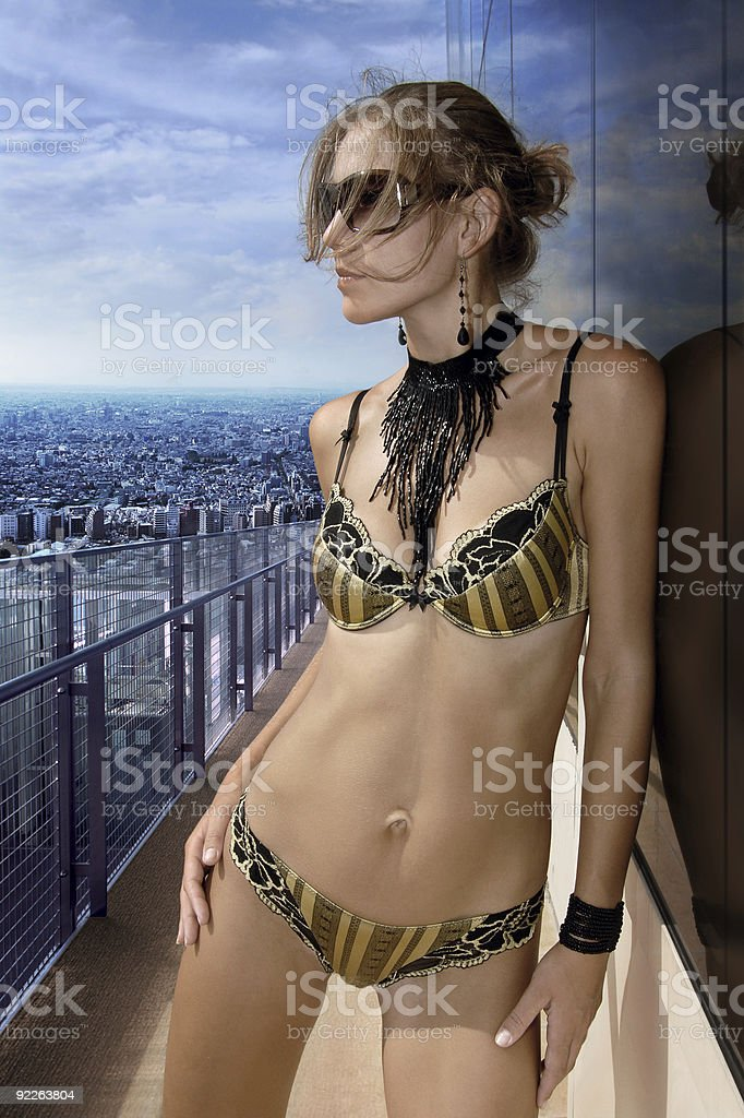 woman on the balcony royalty-free stock photo