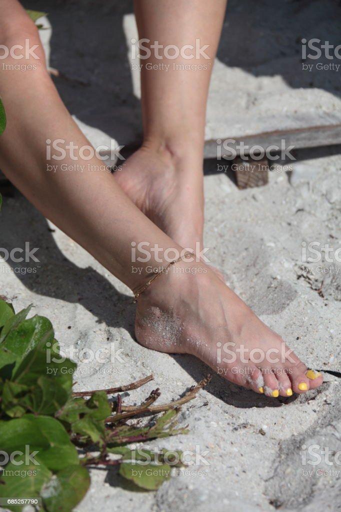 Woman on the beach. Legs. Vertical.