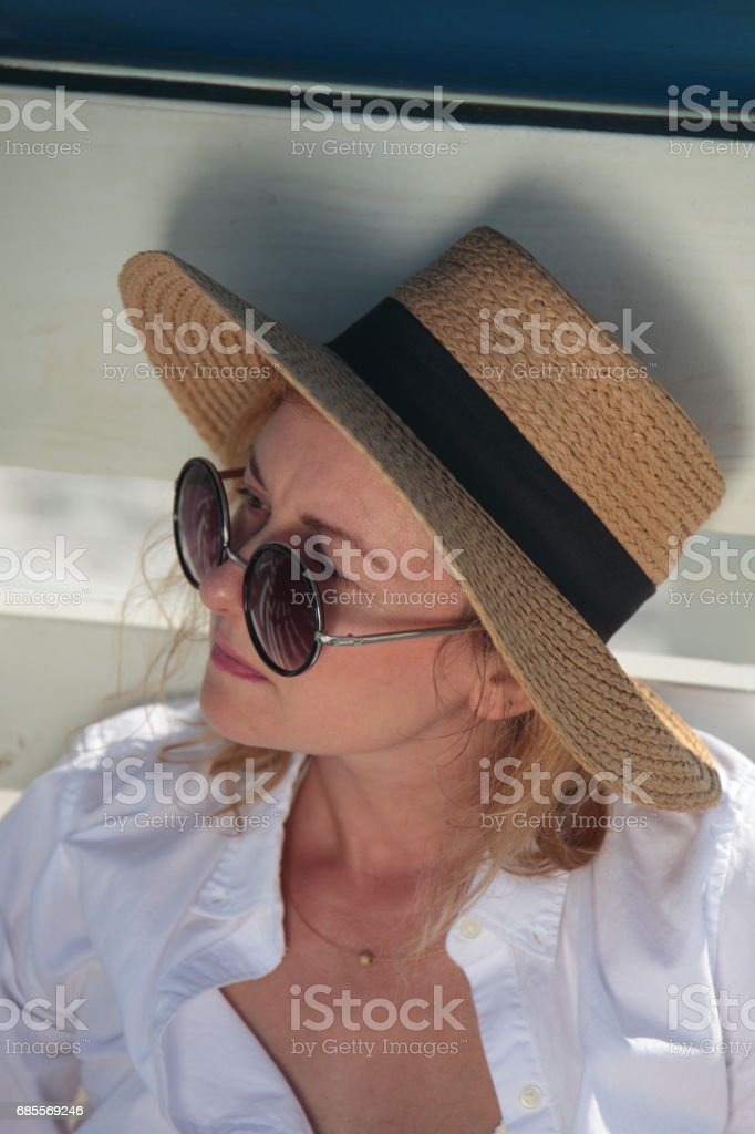 Woman on the beach. 免版稅 stock photo