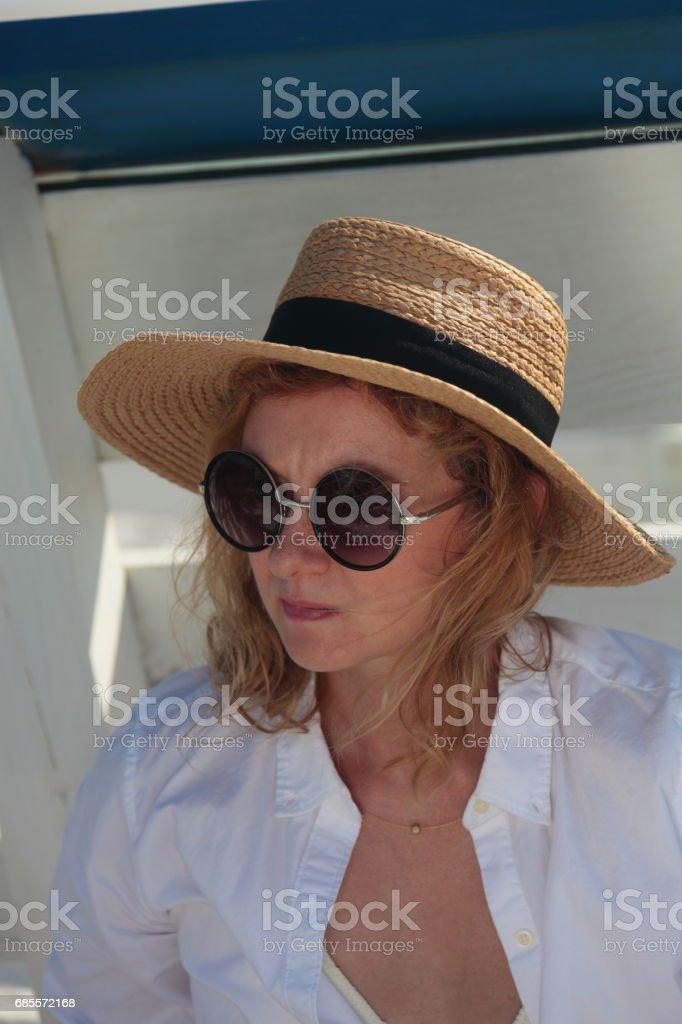 Woman on the beach. 免版稅 stock photo