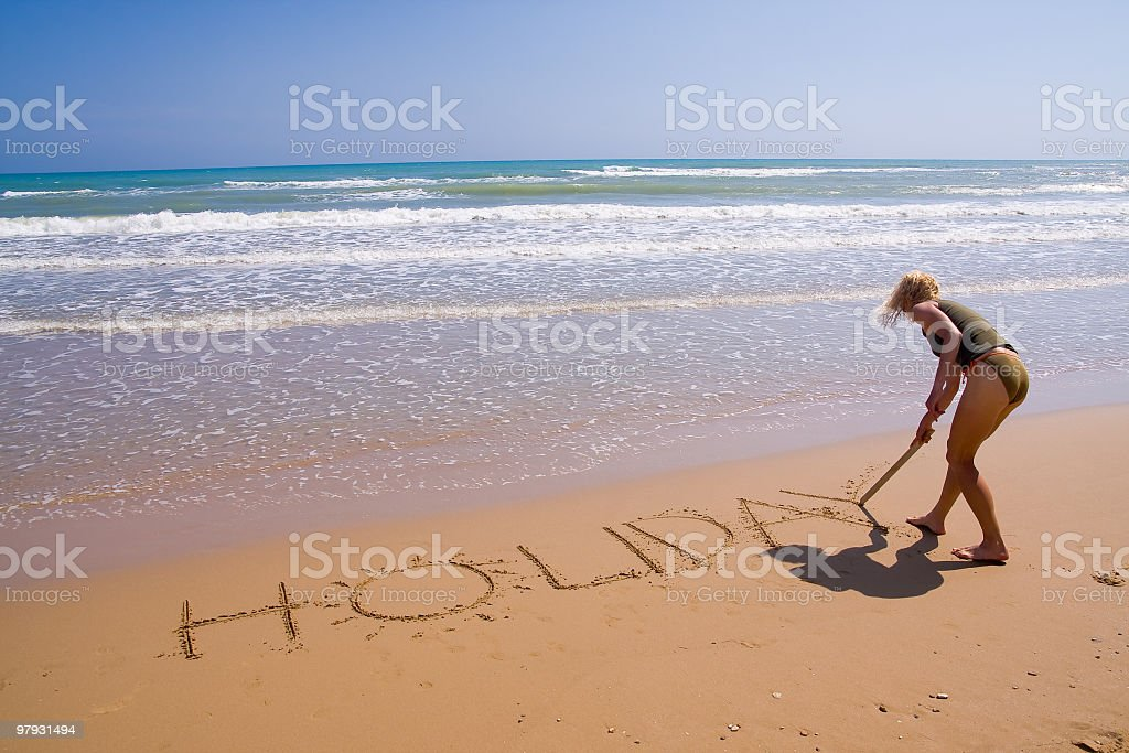 woman on the beach royalty-free stock photo
