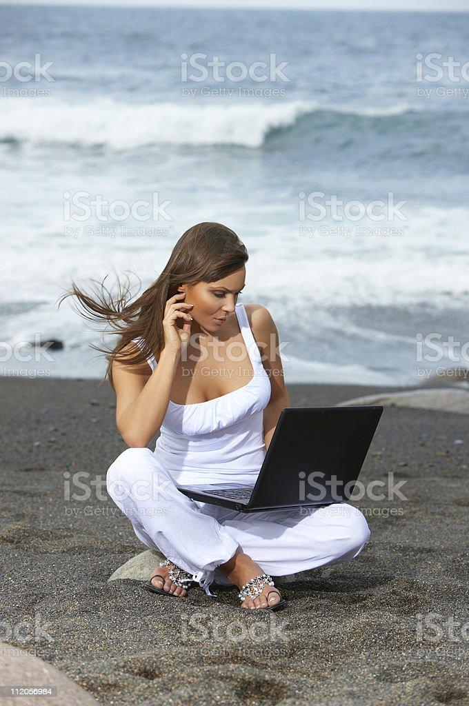 Woman on the Black Beach royalty-free stock photo