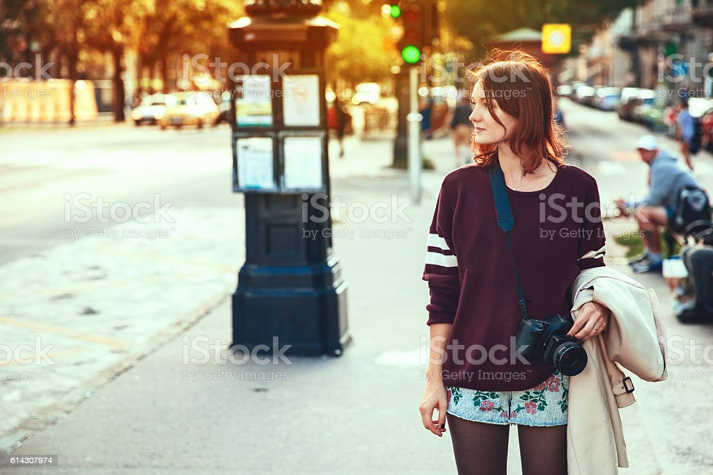 Woman on the City Street of Budapest stock photo