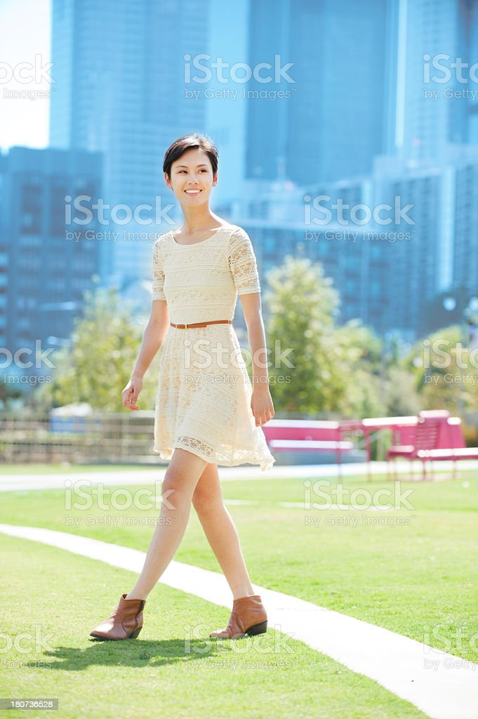 Woman on the go stock photo