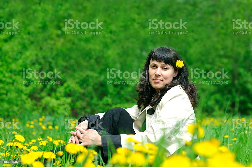 woman on the grass royalty-free stock photo