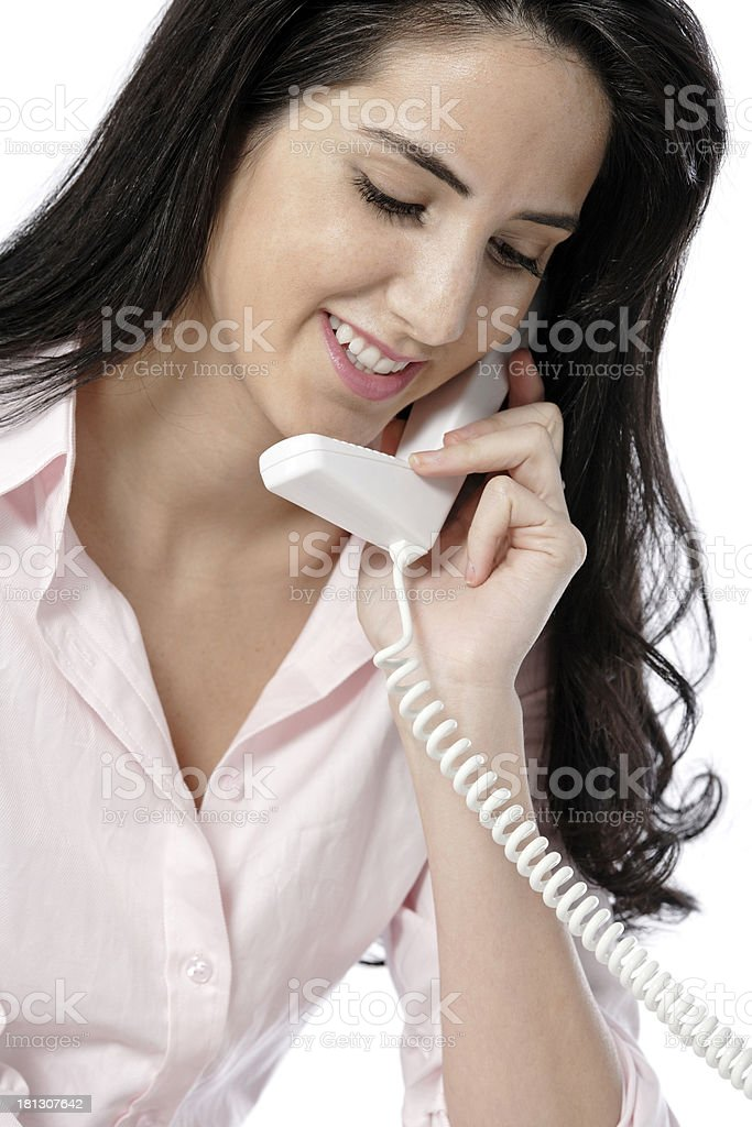 Woman on the phone at work royalty-free stock photo