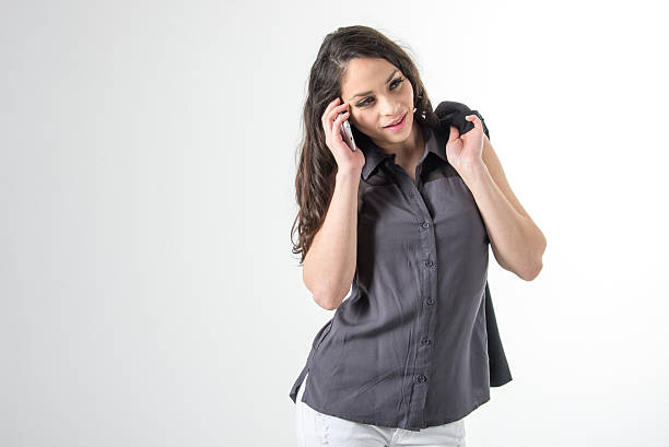 Woman on the phone2 stock photo