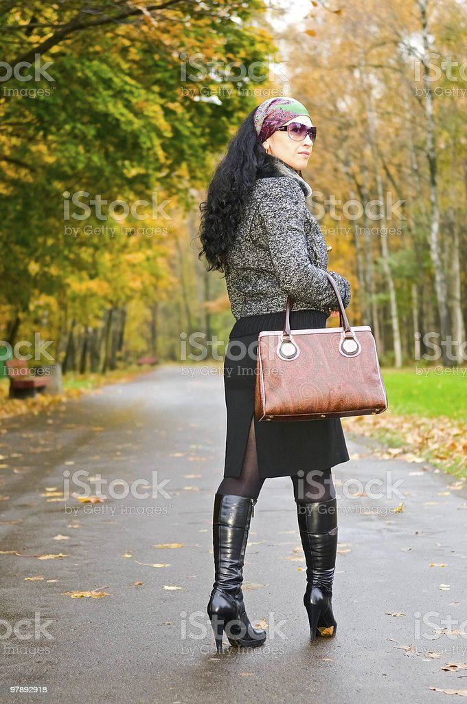 woman on the road royalty-free stock photo