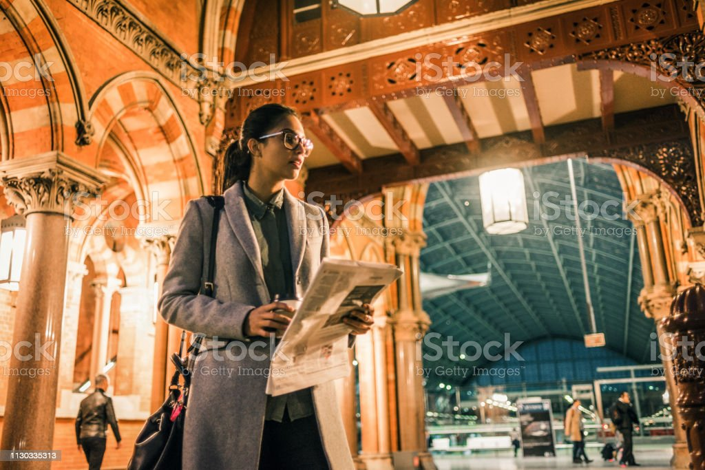 young businesswoman on the way home after work