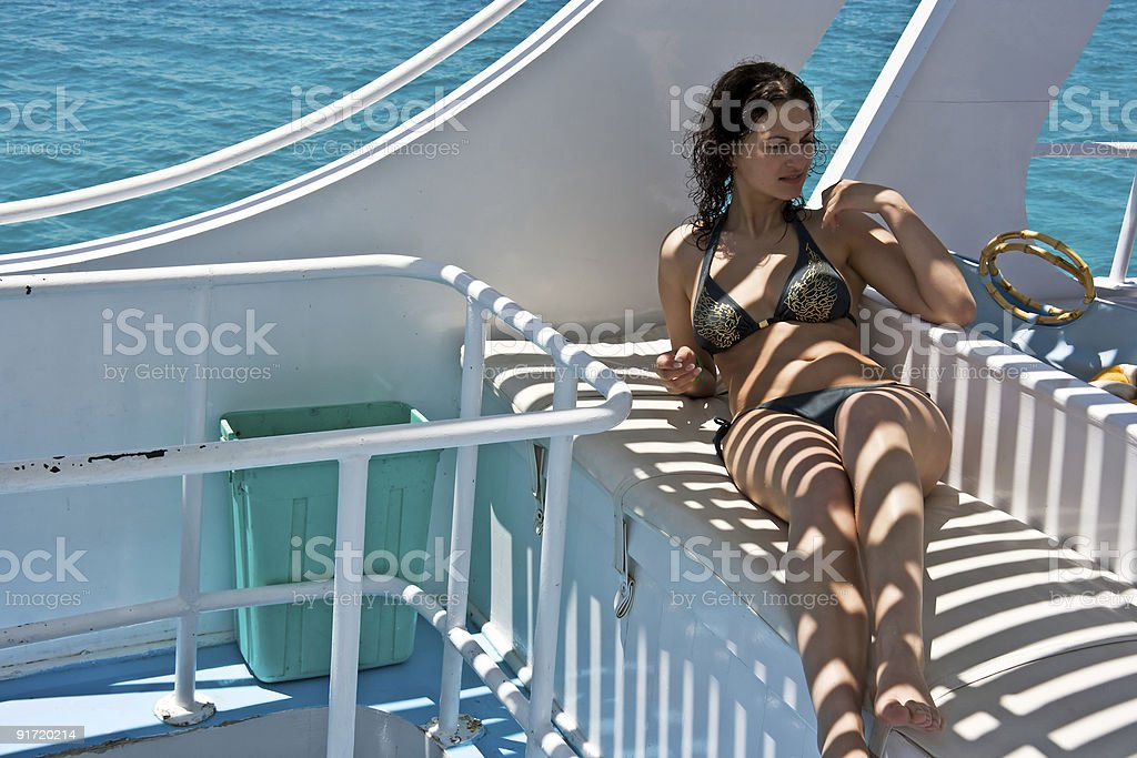 woman on the yacht royalty-free stock photo