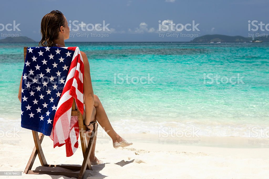 woman on vacation at the beach in American Virgin Islands stock photo