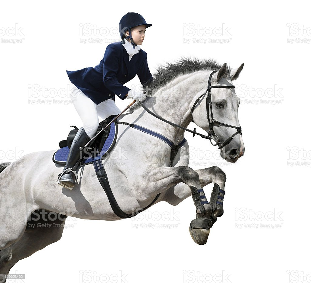 Woman on white horse leaping on white background  stock photo