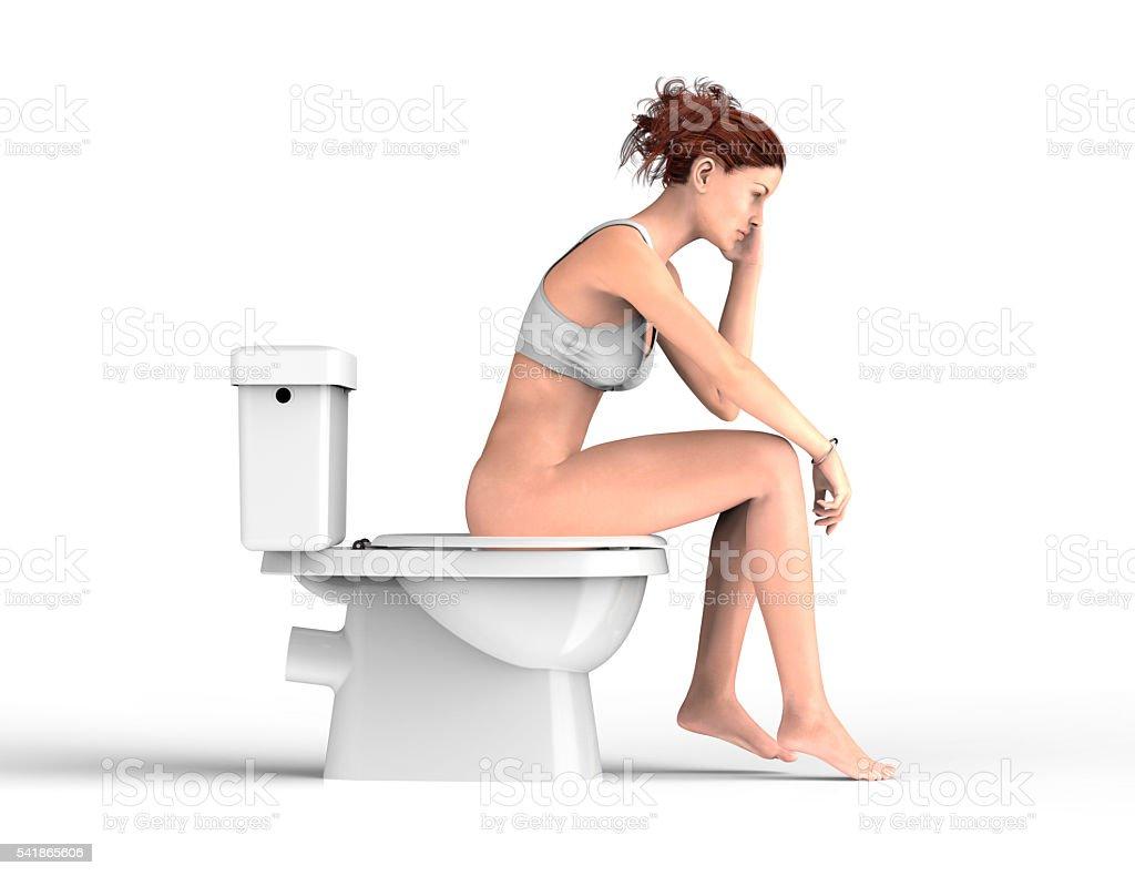 Nude women sitting on toilet