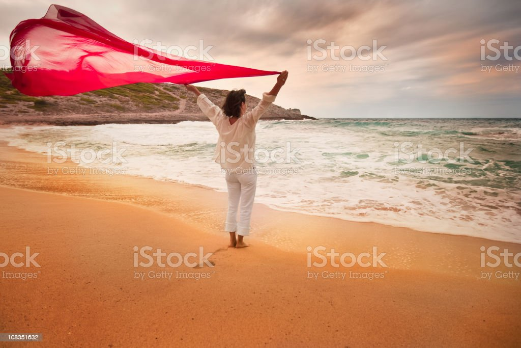 Woman on windy beach royalty-free stock photo