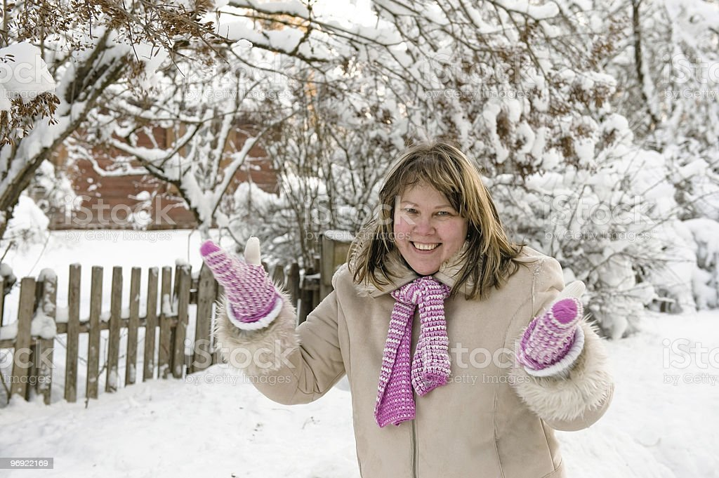 Woman on winter royalty-free stock photo