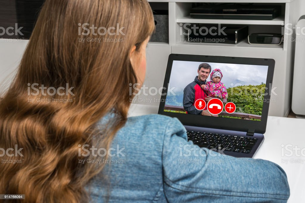 Woman Online Talking With Her Family Video Call Concept ...