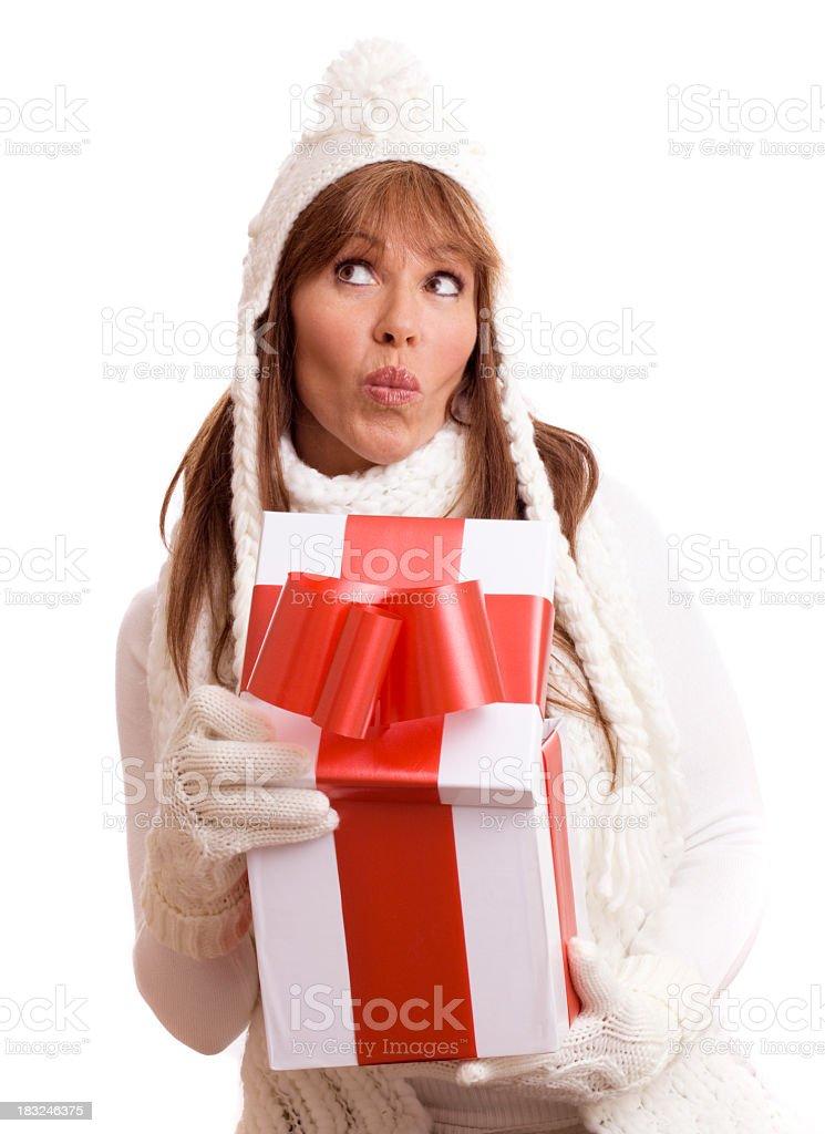 woman opening box royalty-free stock photo