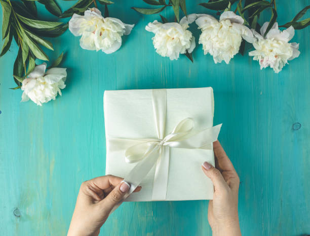 Woman opening her present, top view. Female's hands pull ribbon to unwrap gift box among the white peony flowers on wooden turquoise table surface stock photo