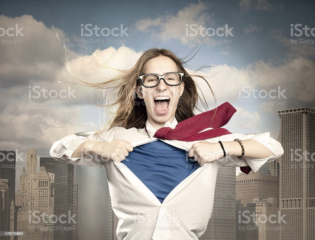 woman opening her shirt like a superhero stock photo