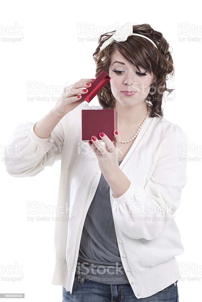 Woman Opening Red Gift Box with Bow royalty-free stock photo
