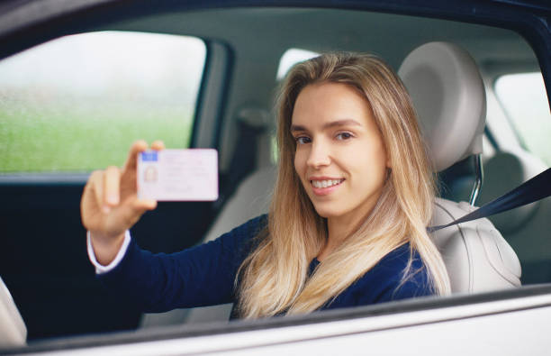 Woman or Girl Passing Car Driving License Test stock photo