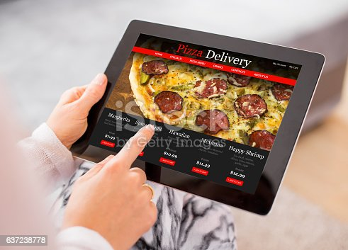 istock Woman ordering pizza online 637238778