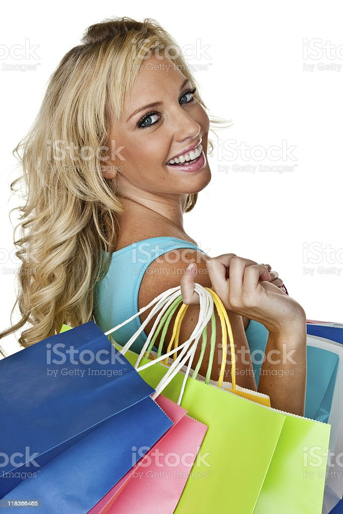 Woman out shopping royalty-free stock photo