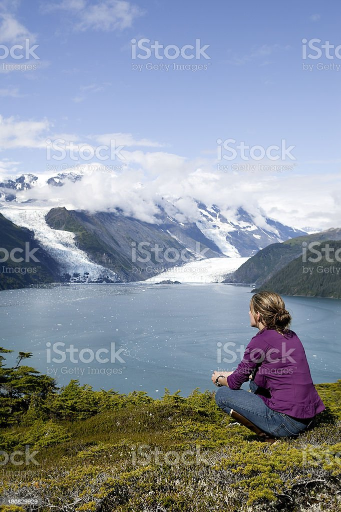 woman outdoors alaska stock photo