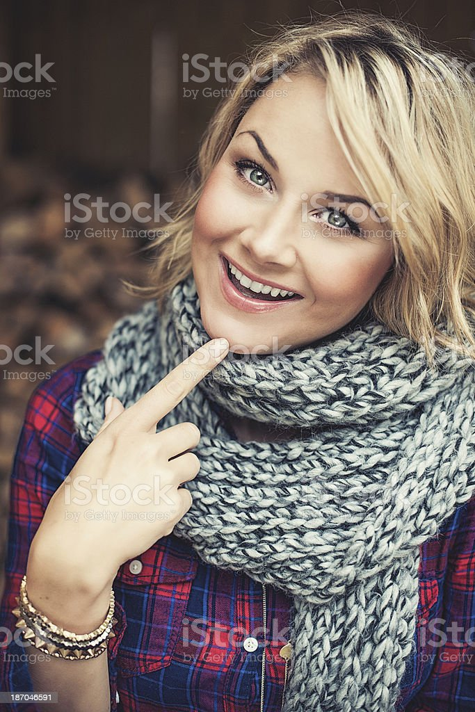 Woman outdoors at autumn royalty-free stock photo