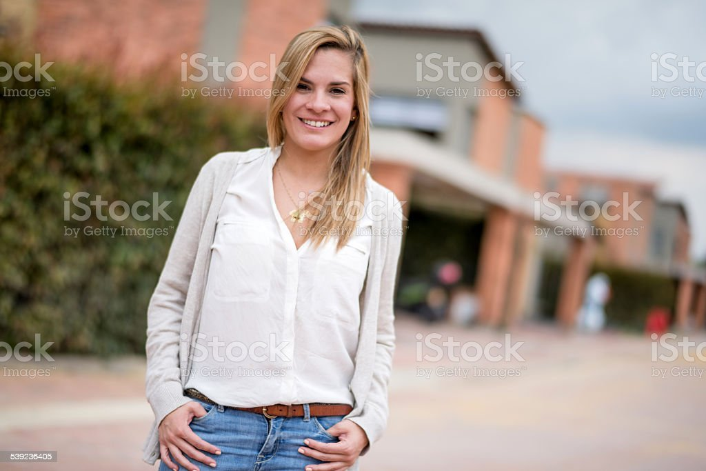 Woman outside her house royalty-free stock photo