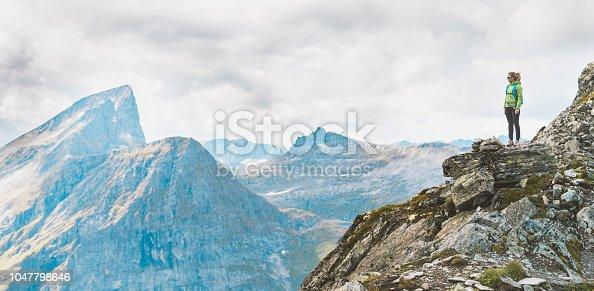 Hiker woman viewing beautiful nature in Sunmøre, Norway