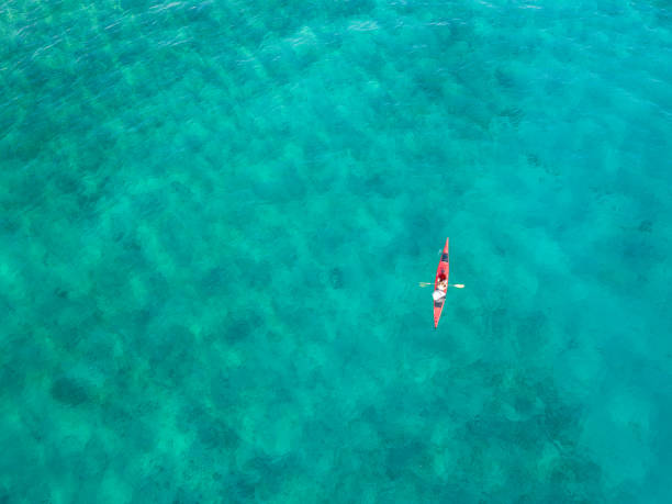 Woman paddling a kayak from above stock photo