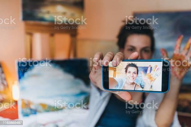 Woman painter making selfies picture id1163865487?b=1&k=6&m=1163865487&s=612x612&h=jndnc23ukbtcaim4rl8b5dahlj3svieueaeedr hijm=