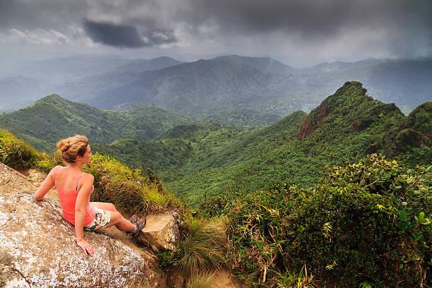 woman panorama el yunque - 自然旅行 ストックフォトと画像
