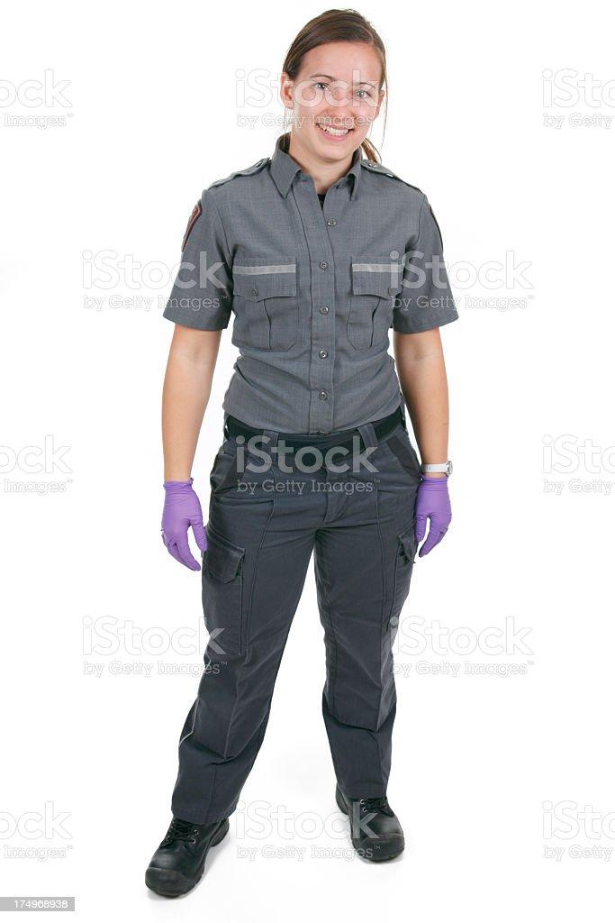 Woman Paramedic White Background stock photo