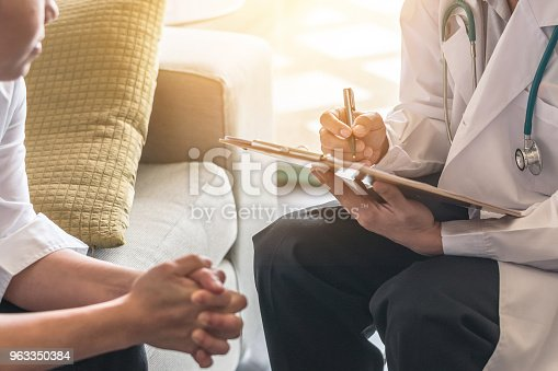 964904920 istock photo Woman patient having consultation with doctor (gynecologist or psychiatrist) and examining  health in medical gynecological clinic or hospital mental health service center 963350384
