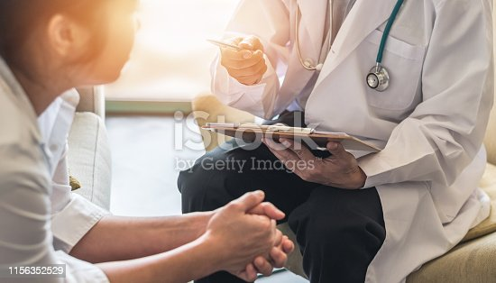 istock Woman patient with doctor or psychiatrist consulting and diagnostic examining on obstetric - gynecological female illness, or mental health in medical clinic or hospital healthcare service center 1156352529