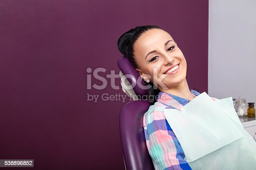 istock Woman patient with perfect straight white teeth waiting for dentist 538896852