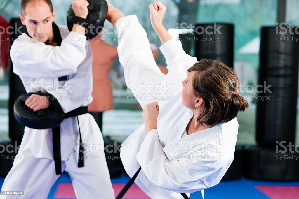Woman performing a martial arts kick royalty-free stock photo