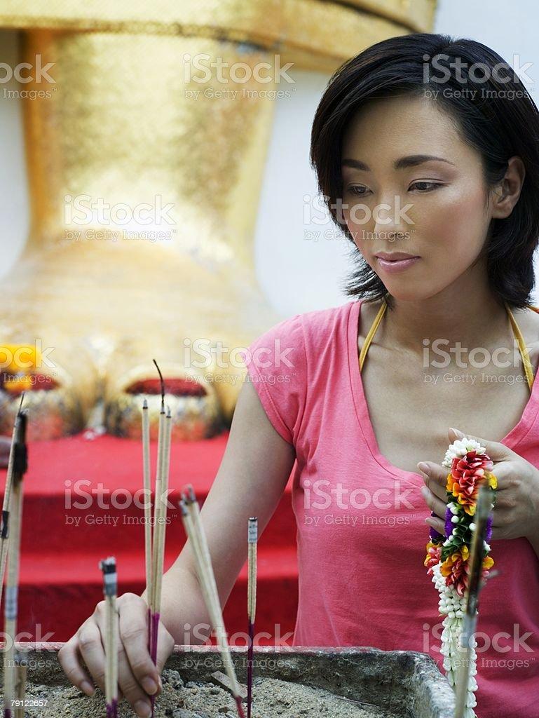 Woman performing ritual 免版稅 stock photo