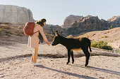 Young Caucasian woman in pink raincoat  petting donkey in Petra site