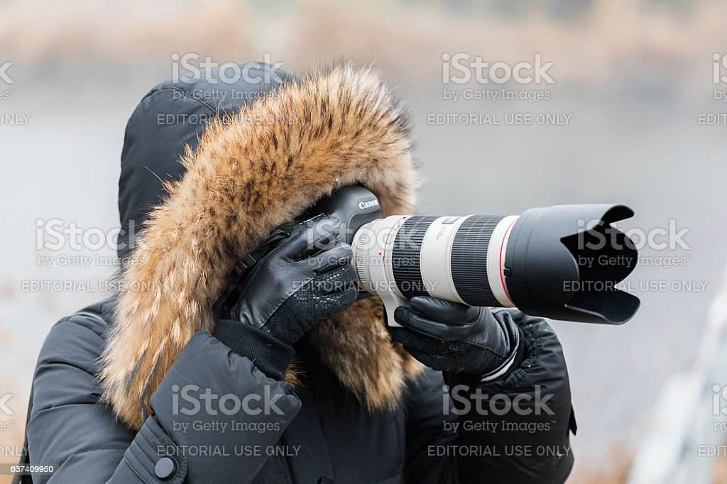 Woman photographer with a professional camera stock photo