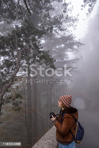 Woman exploring forest in mist and rain, Predmeja, Slovenia. Europe.