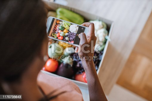 Woman photographing groceries in meal kit.