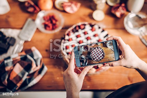Woman photographing her cake