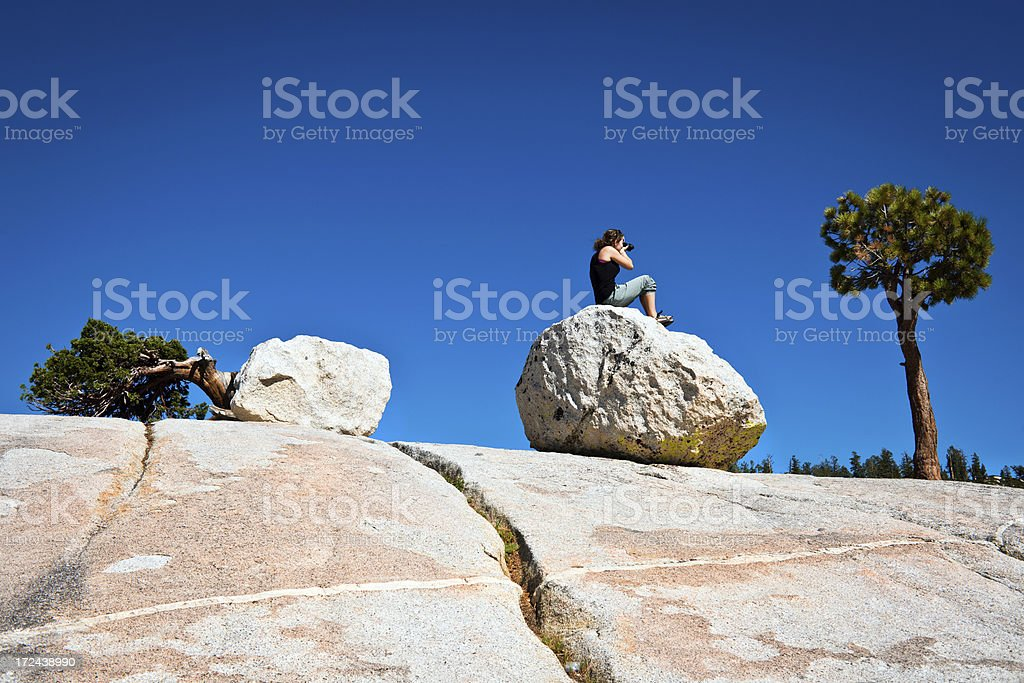 Woman Photographing Olmsted Point Yosemite California USA royalty-free stock photo